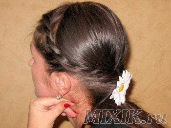 Прическа Жгутики из волос и хвост